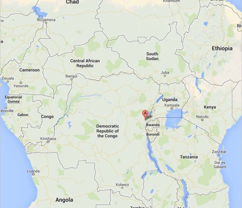 "Masisi is marked by the ""A"" flag in this map, in the North-East of the DRC near its borders with Rwanda and Uganda."