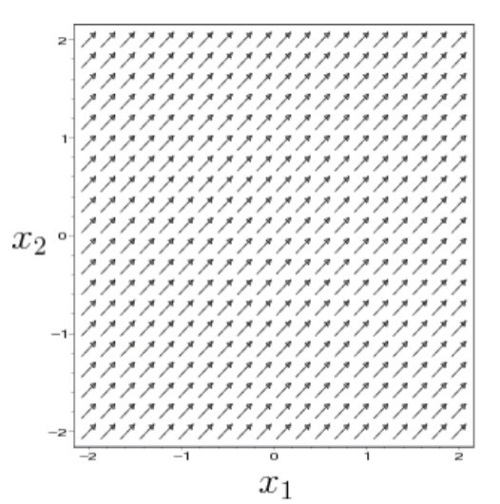 A uniform vector field, each vector has the same direction and size.