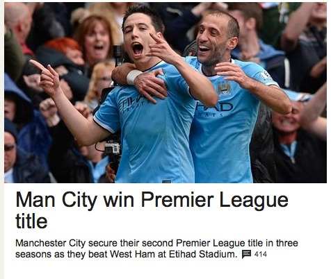 Manchester City win the English Premiership title for the second time in three seasons.
