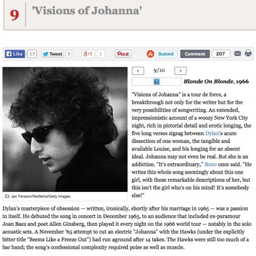 "At number 9 in Rolling Stone Magazine's 10 greatest Bob Dylan songs is ""Visions of Johanna"""