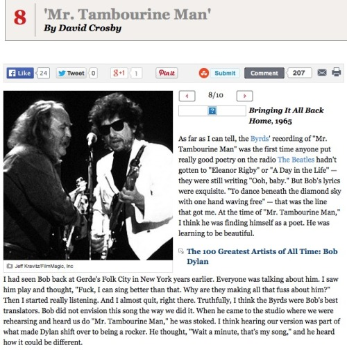"At number 8 in Rolling Stone Magazine's 10 greatest Bob Dylan songs is ""Mr. Tambourine Man"""