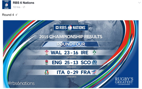 A summary of the results from the 4th weekend of the 2015 6 Nations