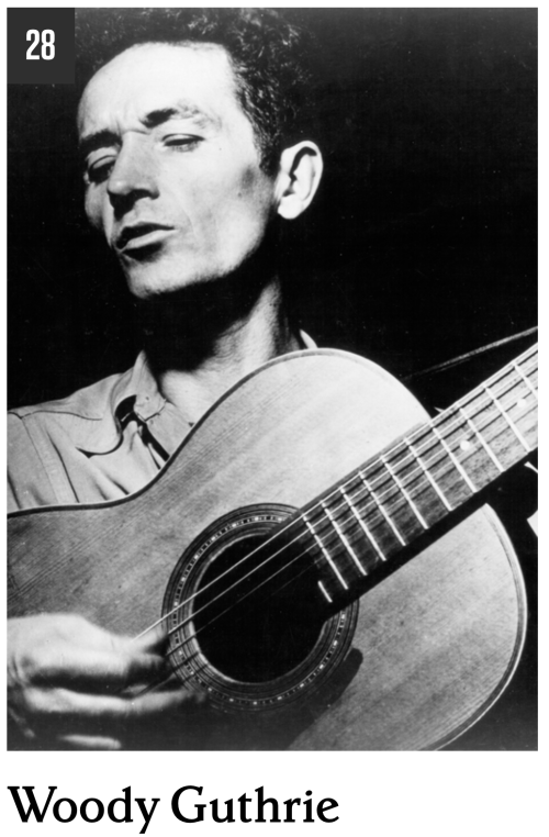 At number 28 in Rolling Stone Magazine's list of the 100 greatest songwriters of all time is Woody Guthrie.